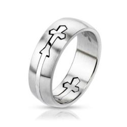 Stainless Steel Dome Cut Out Cross Band Ring - Thumbnail 0