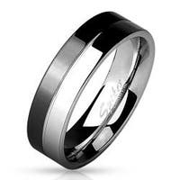 2-Tone Black And Shiny Steel 316L Stainless Steel Band Ring