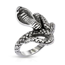 Coiled Cobra Cast Stainless Steel Ring - Thumbnail 0