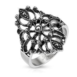 Antique Flower Burst Stainless Steel Ring