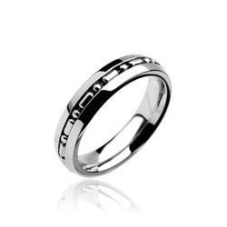 Stainless Steel Small Chain Centered Band Ring - Thumbnail 0