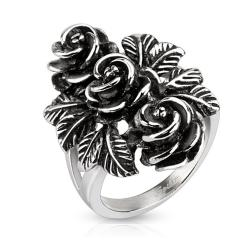 Bundle of Vintage Roses Cast Stainless Steel Ring - Thumbnail 0