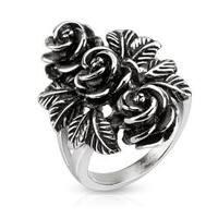 Bundle of Vintage Roses Cast Stainless Steel Ring