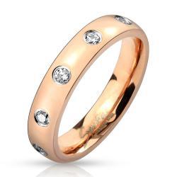 Gem Set Rose Gold IP Stainless Steel Ring - Thumbnail 0