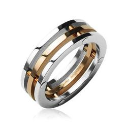 3-Connected Pieces Rose Gold IP Center 316L Surgical Stainless Steel Ring - Thumbnail 0