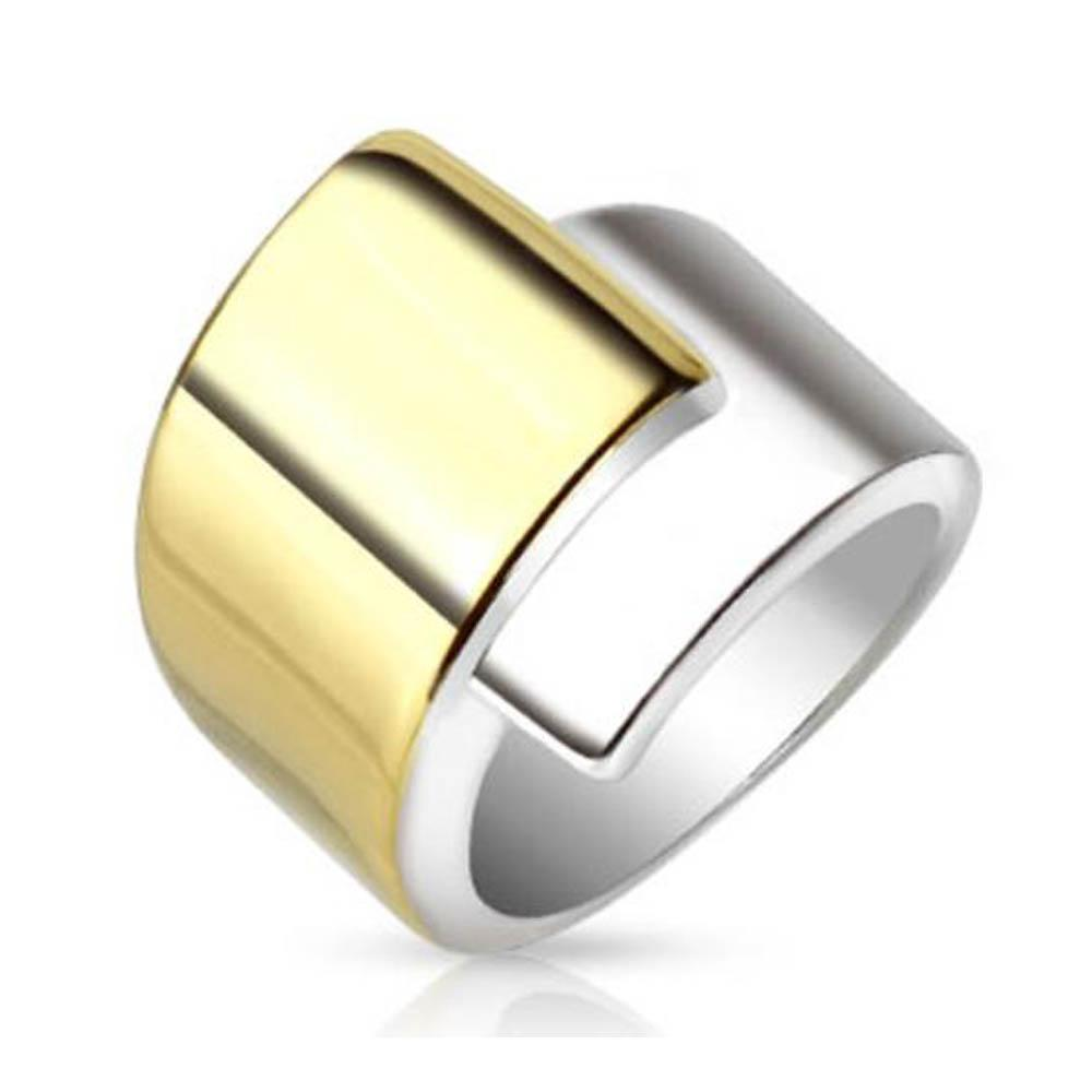 Overlap Belt Buckle Two Tone IP Frontal Stainless Steel Ring