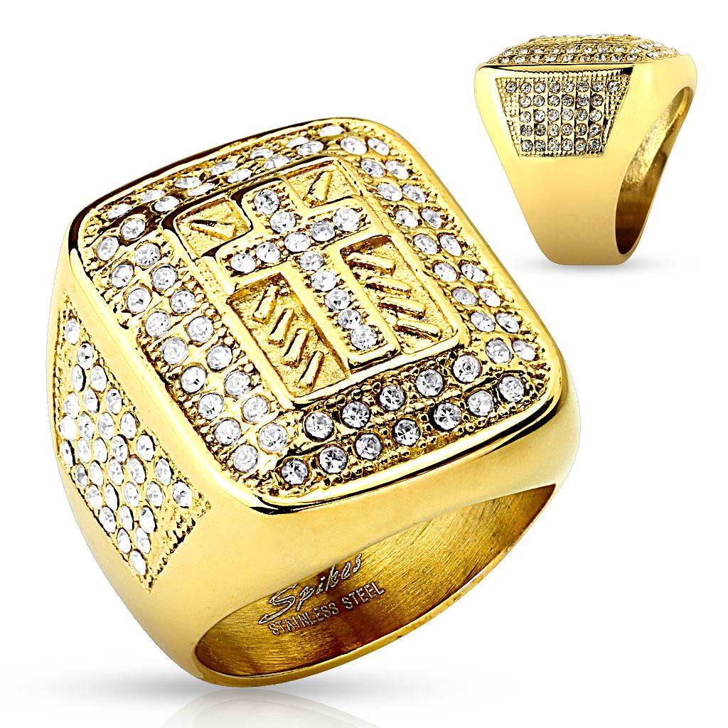 Cross Paved Gem Gold IP Stainless Steel Ring