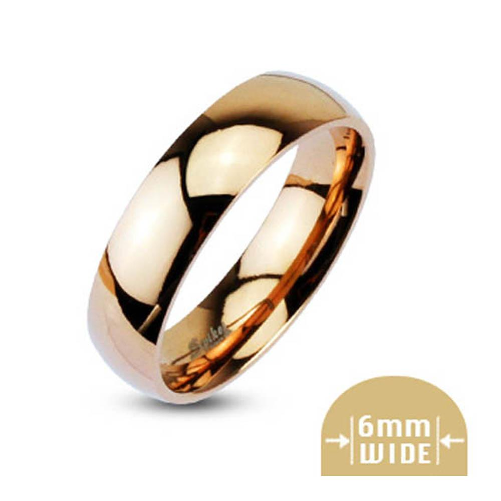 Stainless Steel 6mm Wide Glossy Mirror Polished Rose Gold Plated Dome Band Ring