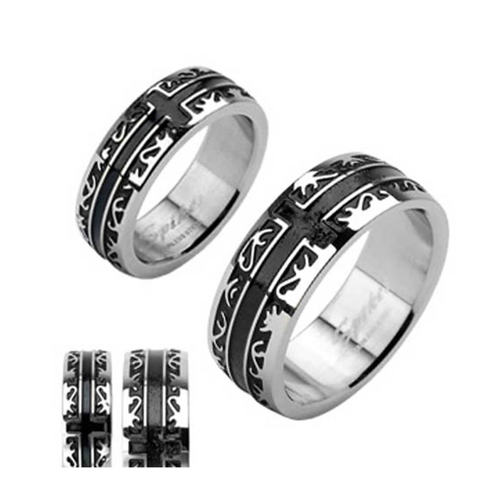 Stainless Steel Black Plated Tribal with a Cross Ring