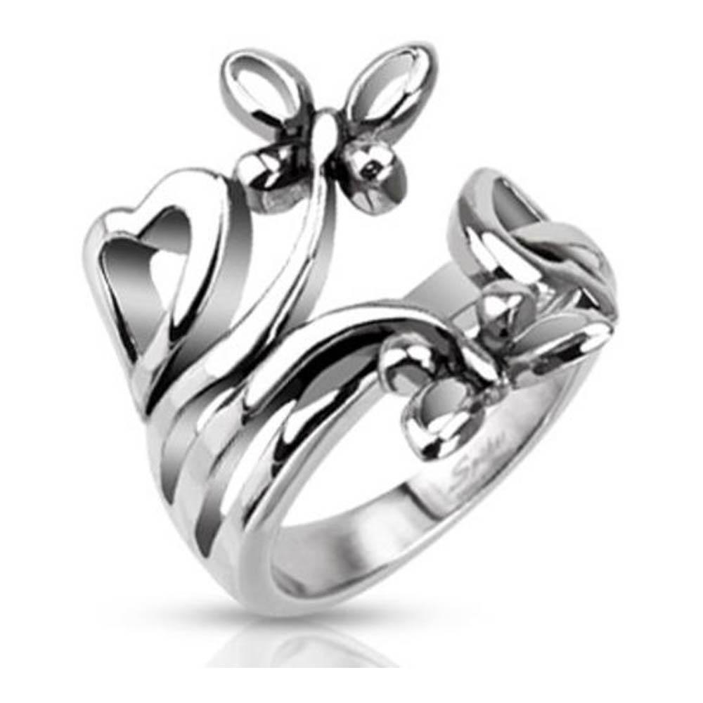 Stainless Steel Extruding Nature of Butterflies and Hearts Ring