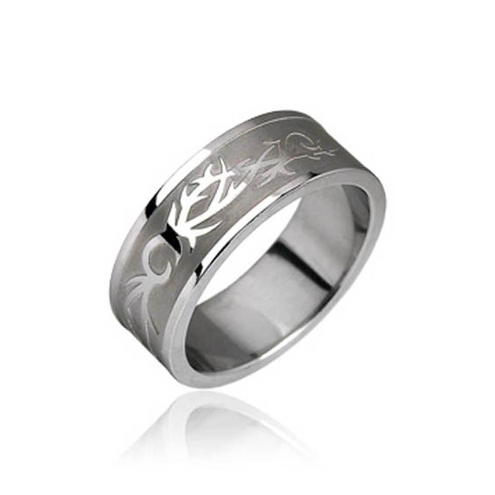 Stainless Steel Tribal Symbol Ring
