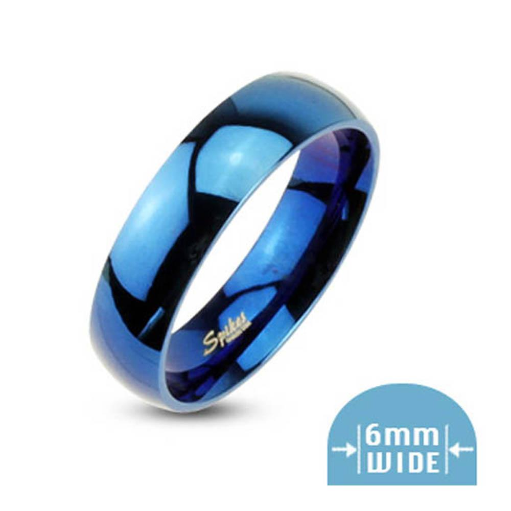 Stainless Steel 6mm Wide Glossy Mirror Polished Blue Plated Dome Band Ring