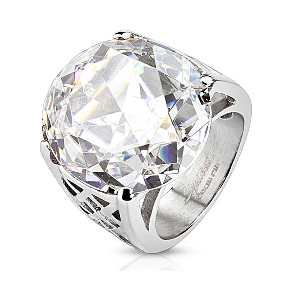 Round Cut Large Clear Gem Cast Stainless Steel Ring