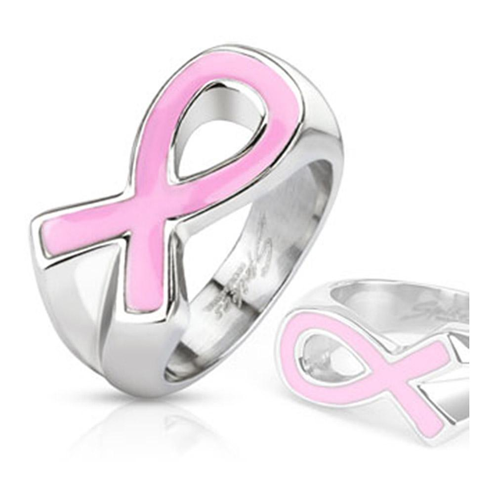 Pink Ribbon Cancer Awareness Enamel Filled Cast Band Stainless Steel Ring