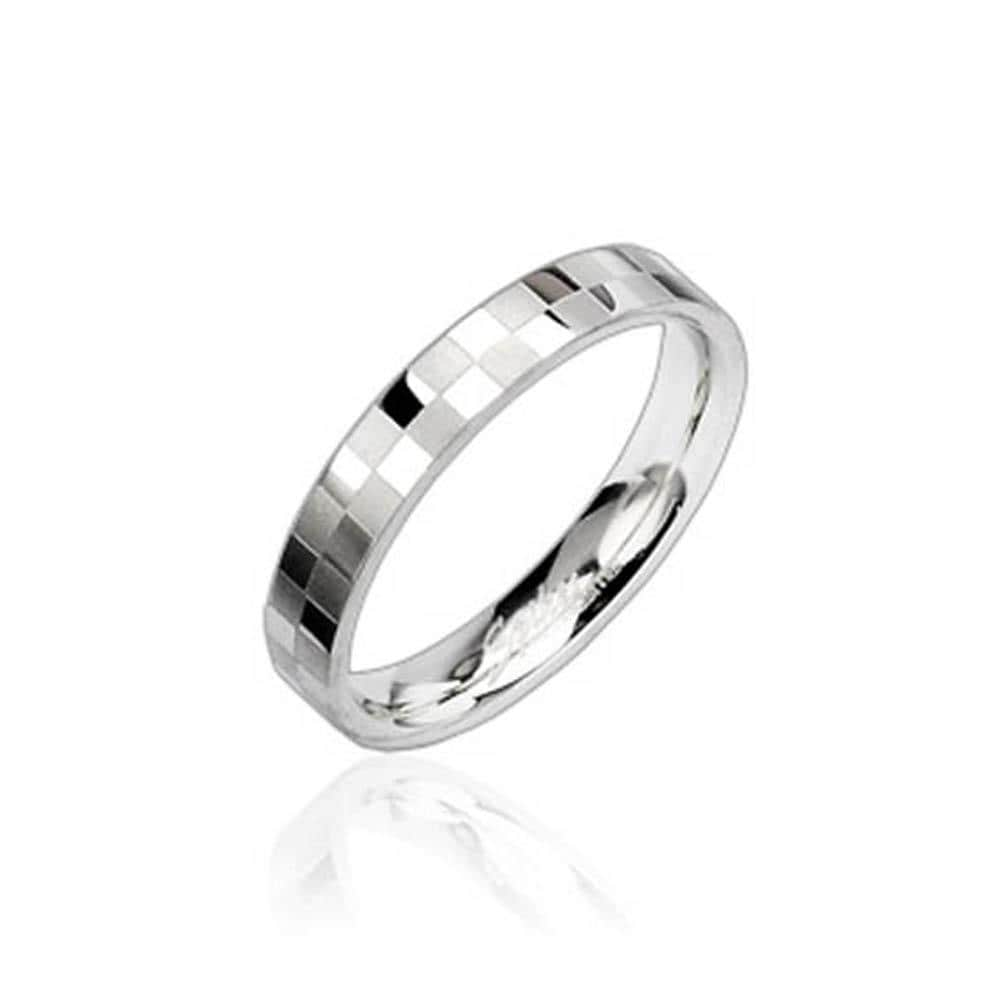 Stainless Steel Checker Engraved Ring