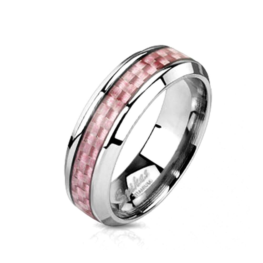 Pink Carbon Fiber Inlay Band Ring Solid Titanium