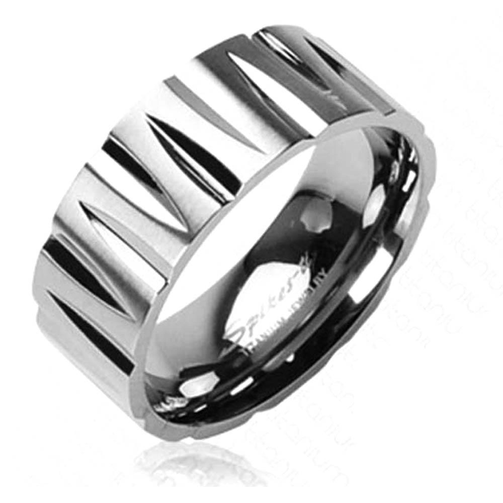 Solid Titanium with Tribal Inspired Faceted Ring