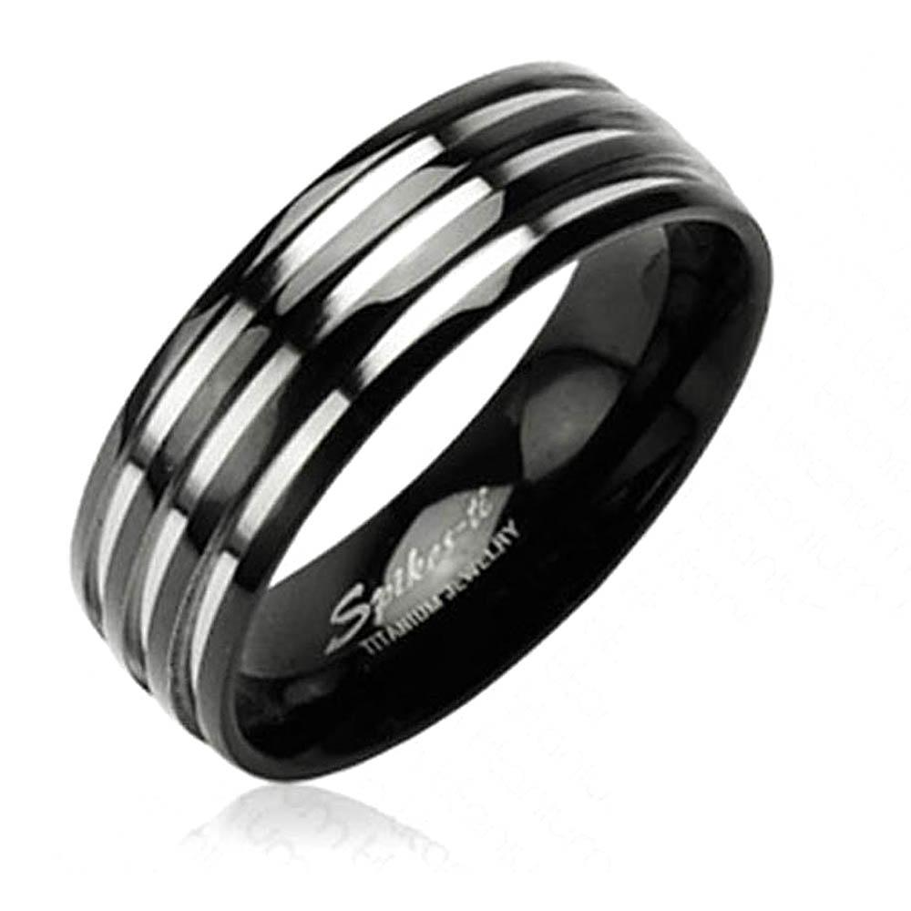 Solid Titanium with Three Stripes on a Black Band Ring