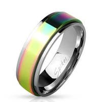 Rainbow IP Spinner Stainless Steel Ring