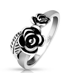 Two Roses with Leaf Stainless Steel Cast Ring - Thumbnail 0