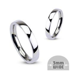 Stainless Steel 3mm Wide Glossy Mirror Polished Stackable Wedding Band Ring - Thumbnail 0