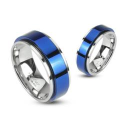 Stainless Steel 2 Tone Double Layered Ring with Blue Plated Spinning Center - Thumbnail 0