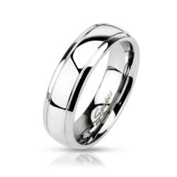 Stainless Steel Dome Stepped Edge Band Ring - Thumbnail 0