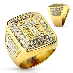 Cross Paved Gem Gold IP Stainless Steel Ring - Thumbnail 0