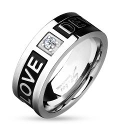 Two Tone 'Love Devotion' Engraved Black IP Stainless Steel Ring - Thumbnail 0