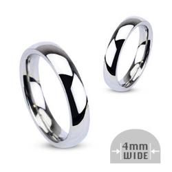 Stainless Steel 4mm Wide Glossy Mirror Polished Wedding Band Ring - Thumbnail 0