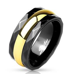 Black Facet Edge Gold IP Center Stainless Steel Spinner Ring - Thumbnail 0
