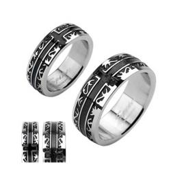 Stainless Steel Black Plated Tribal with a Cross Ring - Thumbnail 0
