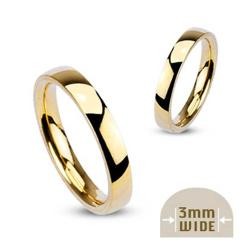 Stainless Steel Gold Plated 3mm Wide Glossy Polished Stackable Wedding Band Ring