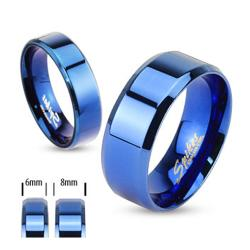 Blue Plated Stainless Steel Beveled Edge Flat Band Ring