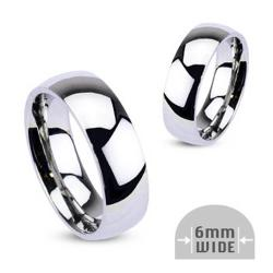 Stainless Steel Wide Glossy Mirror Wedding Band (6mm)