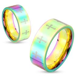 Rainbow Hued Cross Pattern Stainless Steel Couple Ring - Thumbnail 0