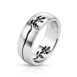 Gecko Cut Out Dome Band Stainless Steel Ring