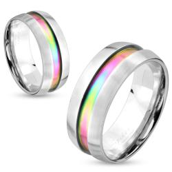 Dome Rainbow Center Inlay Stainless Steel Couple Ring