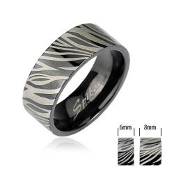 Black Plated Stainless Steel Zebra Print Band Ring - Thumbnail 0