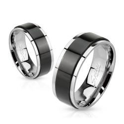 Spinner Black IP Two Toned 6mm Stainless Steel Ring - Thumbnail 0