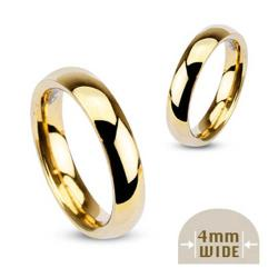 Stainless Steel Gold Plated 4mm Wide Glossy Mirror Polished Wedding Band Ring - Thumbnail 0
