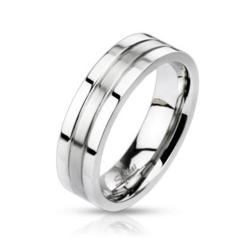 Stainless Steel 2-Tone Groved Band Ring - Thumbnail 0