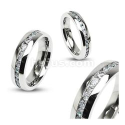 Eternity Clear Gems Stainless Steel 4mm Ring
