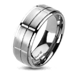 Solid Titanium Brushed Cross Grooved Center Band Ring - Thumbnail 0