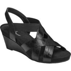Women's A2 by Aerosoles Fire Light Wedge Sandal Black Faux Leather