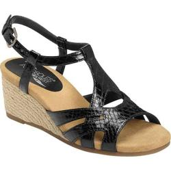 Women's Aerosoles Outer Space Wedge Sandal Black Snake Faux Leather