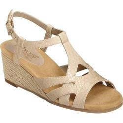Women's Aerosoles Outer Space Wedge Sandal Bone Snake Faux Leather