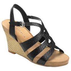 Women's Aerosoles Plush Plenty Wedge Sandal Black Snake Faux Leather