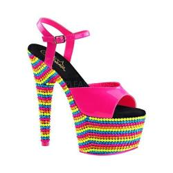 Women's Pleaser Adore 709RBS Ankle Strap Sandal Neon Hot Pink Patent/Neon Multi