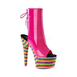 Women's Pleaser Adore 1018RBS Open-Toe Ankle Boot Neon Hot Pink Patent/Neon Multi